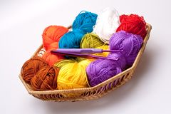 Basket with thread and balls for knitting Royalty Free Stock Photography