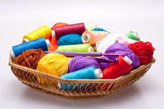 Basket with thread and balls for knitting Royalty Free Stock Image