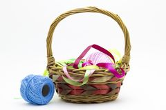 Basket with thread Royalty Free Stock Image