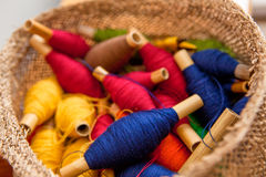 Basket of Threads. Basket of Many Colored Threads stock photography