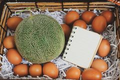 Basket to put the cantaloupe and eggs on special days. Dares to put the cantaloupe and eggs on special days stock images