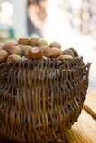 A basket of toasted hazelnuts Royalty Free Stock Photo