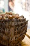 A basket of toasted hazelnuts Royalty Free Stock Photo