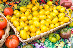 Basket of tomatoes on display Royalty Free Stock Images