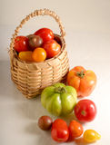 Basket of Tomatos. Basket of different variety of tomatos Royalty Free Stock Image
