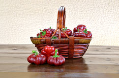 Basket of Topepo Rosso peppers Stock Photos