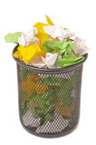 Basket of tossed paper Royalty Free Stock Image