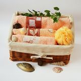 Basket with towels and cockles Royalty Free Stock Photos