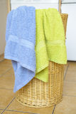 Basket with towels Stock Photo