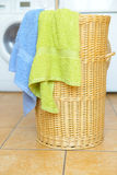 Basket with towels Royalty Free Stock Images