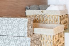 Basket of towels on wooden Royalty Free Stock Photo