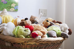 Basket of toys stock photos