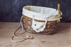 A basket for toys made from old newspapers. zero waste Royalty Free Stock Photos