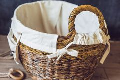 A basket for toys made from old newspapers. zero waste Royalty Free Stock Images