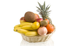 basket of tropical fruit Royalty Free Stock Image