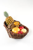Basket of tropical fruit stock photo