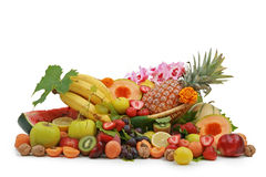 Basket of tropical fruits Stock Photos