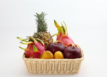 A basket of tropical fruits Royalty Free Stock Images