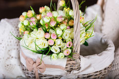 Basket with tulips Stock Photos