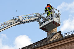 Basket of turntable ladder Stock Photos