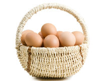 A basket with two dozens of brown eggs Royalty Free Stock Photos