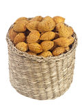 Basket of unshelled almonds Stock Photography