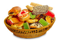 Basket with a variety of cookies Stock Photo