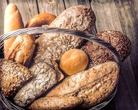 A basket of a variety of fresh bread royalty free stock photography