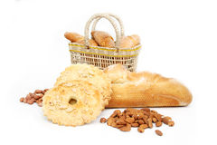 Basket of various bread Stock Images