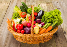 Basket with various fresh vegetables Royalty Free Stock Image