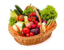 Basket with various fresh vegetables Royalty Free Stock Photos