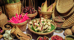 Basket of Various Thai Herbs for Food Recipe on Wooden Table in The Traditional Kitchen Royalty Free Stock Image