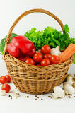 Basket of Various Vegetables Stock Photo