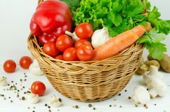 Basket of Various Vegetables Stock Photography