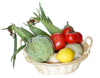 Basket of Vegetable. Isolated on white background Stock Photography