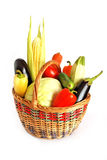 Basket of vegetables. Isolated on white Stock Photos