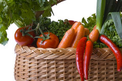 Basket of Vegetables. Basket full of fresh vegetables Royalty Free Stock Images