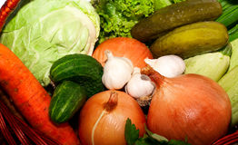 Basket with vegetables. Basket with raw, fresh vegetables royalty free stock photo