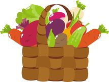 Basket with vegetables. A basket of different vegetables Stock Images