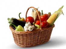 Basket with vegetables. Basket with fresh vegetables, healthy concept Stock Photos