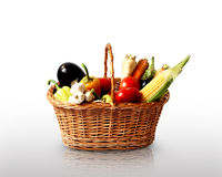Basket with vegetables. Basket with fresh vegetables, healthy concept royalty free stock photo