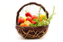Basket of vegetables. Fruits and herbs Stock Image