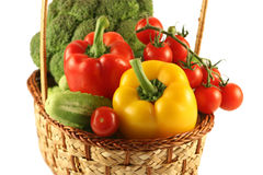 The basket with vegetables Stock Photos