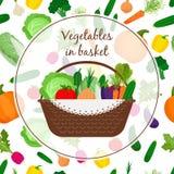 Basket with vegetables vector illustration