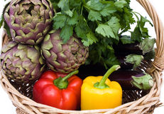 Basket With Vegetables - Closeup royalty free stock photos