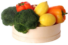 Basket of vegetables and fruits on isolated background Royalty Free Stock Photography