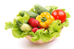 Basket with vegetables harvest on white Stock Image