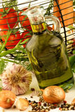 Basket of vegetables and olive oil Royalty Free Stock Images