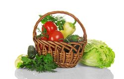 Basket with vegetables, pepper and cucumber Stock Photography