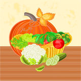 Basket with vegetables and pumpkin healthy nutrition vector Royalty Free Stock Photography
